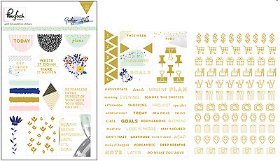 Pink Fresh Studio - Indigo Hills - Gold Foil / Word & Icon Stickers Planner Dec