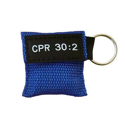 100Xcpr Mask With Keychain Cpr Face Shield Aed Red Pouch Cpr 30:2 Blue