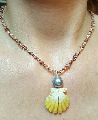 Kahelelani Hawaii Sunrise shell gray Tahitian genuine pearl Necklace $500