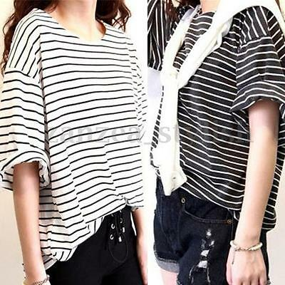 Women Cotton Stripe Batwing Short Sleeve Crew Neck Loose Tops Blouse T-shirt Tee