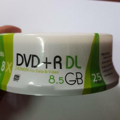 25 Pieces White Printable  8X DVD+R DL Double Layer Recordable Media Disc 8.5GB