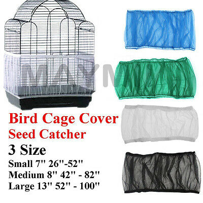4Colors 3Sizes Seed Catcher Guard Mesh Bird Cage Cover Skirt Traps Debris XW