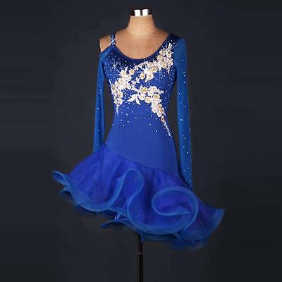 Blue Latin salsa tango Cha cha Samba Rumba Jive Ballroom Evening Dance Dress
