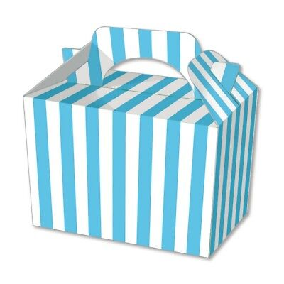 10 Blue Stripe Party Boxes - Food Loot Lunch Cardboard Gift Stripey Popcorn