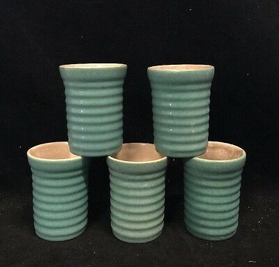Rare Vintage Lot 5  Bauer? Pottery Ring Ware Green 6 oz. Tumblers
