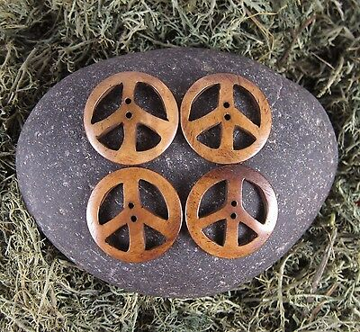 Zen Canyon Natural Brown Large Peace Sign 2-hole Carved Yak Bone Buttons 4 pack