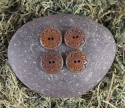 Zen Canyon Natural Brown Sunflower 2-Hole Carved Yak Bone Buttons 4 Pack