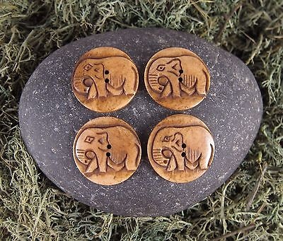 Zen Canyon Large Natural Brown Elephant 2-Hole Carved Yak Bone Buttons 4 Pack