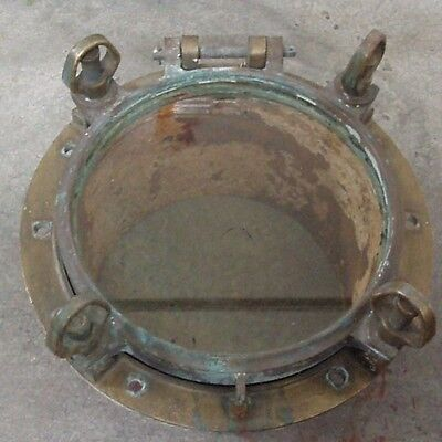 "Antique WWII Brass Porthole 12"" diameter"