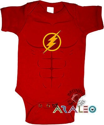 Body Neonato FLASH Supereroe Cotone Bodysuit Newborn Infant Enfant red