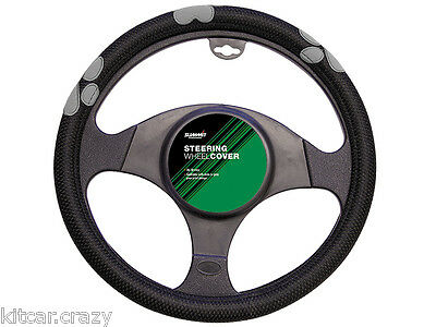 Summit Universal Steering Wheel Cover, Black With Grey Paw Print