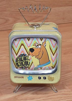 2000 Hanna-Barbera Scooby-Doo Vandor Collectible Tin TV Shaped Coin Bank *READ*