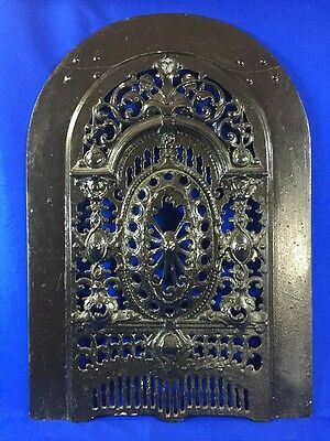 """Vintage Cast Iron Fireplace SUMMER COVER Arched Steampunk 27"""" x 19"""""""