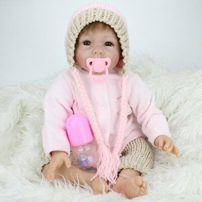 Cute Real Baby Doll Toys Lifelike Awake Girl Doll  with Hair for Kids Gift