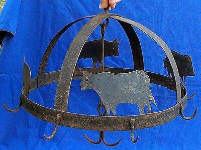 Stunning late 18th century French wrought iron folk art meat crown  circa 1800