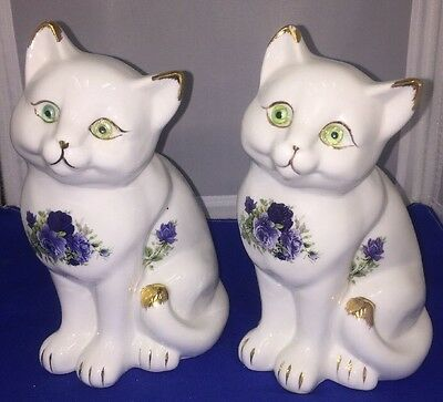 """RARE!! TWO Formalities by Baum Bros. Cat Figure Blue Flowers Collection 7"""" Tall"""