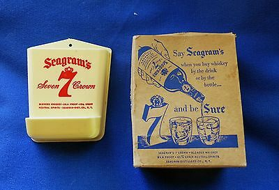 Vintage Seagram's 7 Crown Pencil & Paper Clip Holder with Box