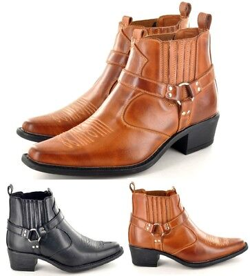 Mens Cowboy Pointed Toe  Western Boots Ankle Riding Biker Slip On Heels Shoes