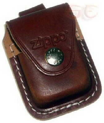 Zippo Lighter Leather Pouch with Metal Belt Clip in Brown LPCB Lifetime Warranty
