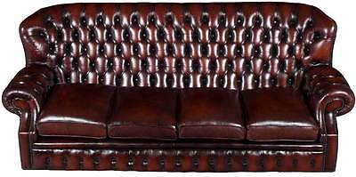 Vintage Antique Style Four Seat High Back Red Leather Chesterfield Sofa Couch