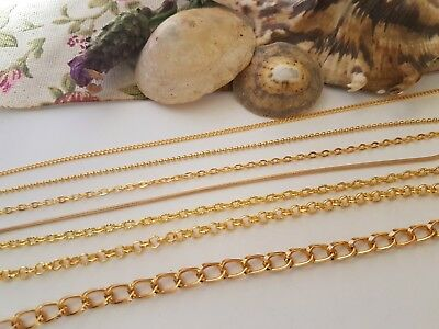 Gold Coloured Metal Jewellery Chain,all Styles, Necklace Bracelet Craft Making