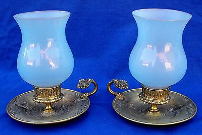 Pair of Empire bronze chambersticks with hurricane shade sockets  circa 1810