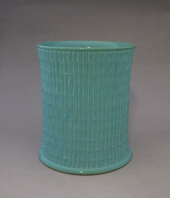 Rare Chinese Green Glaze Porcelain Carved Brush Pot with Mark