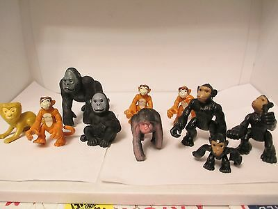 Toy mixed gorilla figurines (lot of 10) King Kong like
