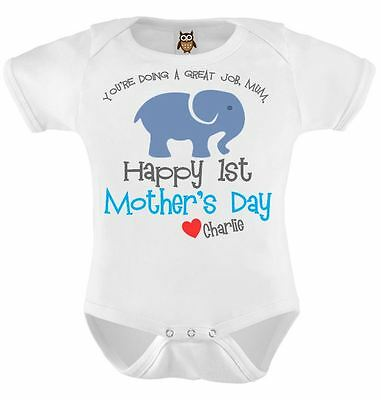 Happy 1st Mother's Day Love Named, Mothers Day Baby Bodysuit, Baby Vest Blue 116