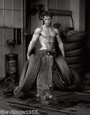 Postcard / Fred with tires / Herb Ritts / 1984  / Gay Interest