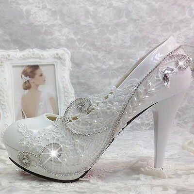 """3""""/4"""" white light ivory lace crystal Wedding shoes Bridal shoes heels pumps size"""
