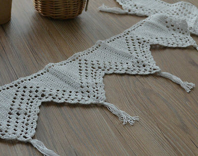 White Crochet Macrame Lace Kitchen Cafe Window Curtain Valance French Country