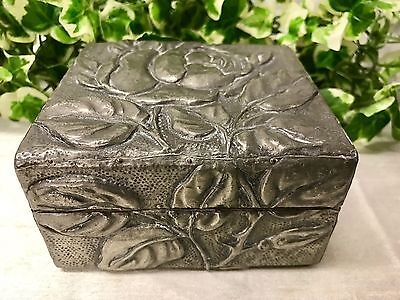 Lovely Antique Vintage Pewter Trinket Box With Embossed Floral Rose Design
