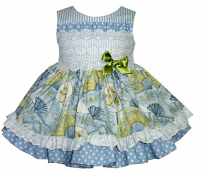 Floral Baby Girl's Blue Spanish Dress with Frlliy Details/Romany/12M to 36M