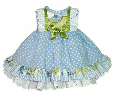 Floral Baby Girl's Blue Spanish Dress with Frlliy Details/Romany/1M to 18M