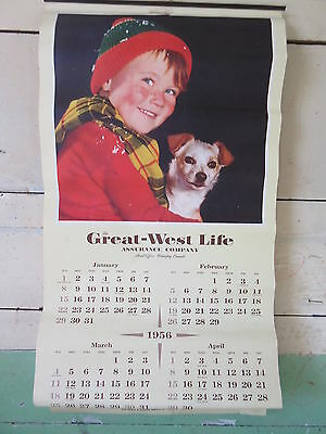 Old 1956 Advertising Calendar Great West Life Assurance Co