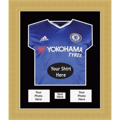 DIY FRAMES TO DISPLAY SIGNED FOOTBALL SHIRTS  WITH 2 PHOTOS AND TITLE - Chelsea