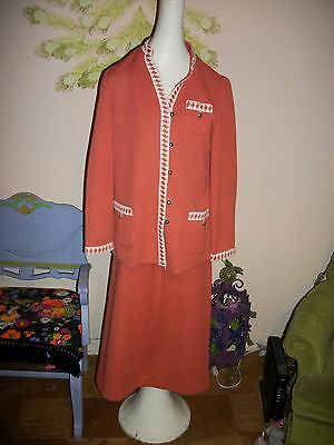 Vintage Orange Ladies Skirt Suit by Tucker Knits, 14