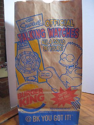 Burger King - The Simpsons Talking Watches  Brown Paper Bag #12 size - 2002