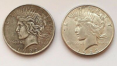 Lot Of Two Silver Peace Dollars 1922 & 1923 S Coins