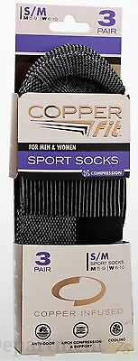 Copper Fit for Men & Women Sport Socks S/M 3 pairs