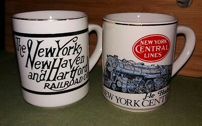 Set Of 2 Railroad Coffee Mugs NEW YORK CENTRAL LINES & NY NEW HAVEN & HARTFORD