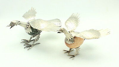 Pair Of Fine Vintage Taxco & Hecho En Mexico 925 Sterling Silver Bird Figurines