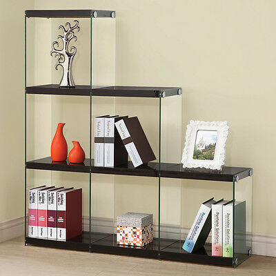 New Transparent Glossy Black Bookcase Bookshelf 5X's Glass side Book Shelves