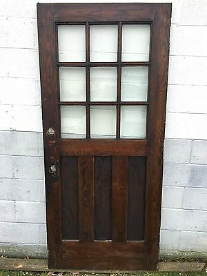 36 x 80 MISSION ARTS CRAFT CRAFTSMAN 9 PANE BEVELED GLASS EXTERIOR ENTRANCE DOOR