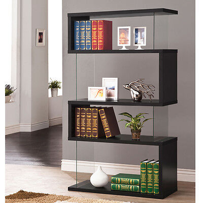 New Asymmetrical Glossy Black Bookcase Bookshelf Display Floating Book Shelves