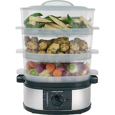 Morphy Richards 3 Tier Electric Food Steamer Stainless Steel - Large 9L Capacity