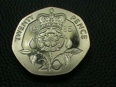 GREAT  BRITAIN     20  Pence    1985    PROOF   ,   NO  YELLOW  TONING