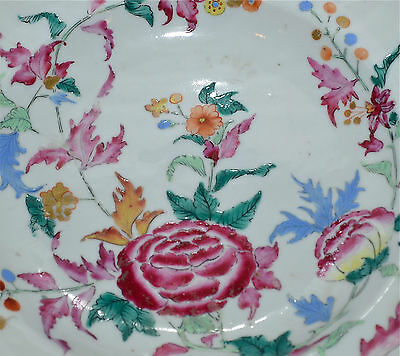 Fine Antique Chinese 18th C Famille Rose Plate Bowl Qianlong AS IS