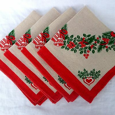 Vintage Christmas Cloth Napkins Set of 4 Red and Green Bells Holly Hearts